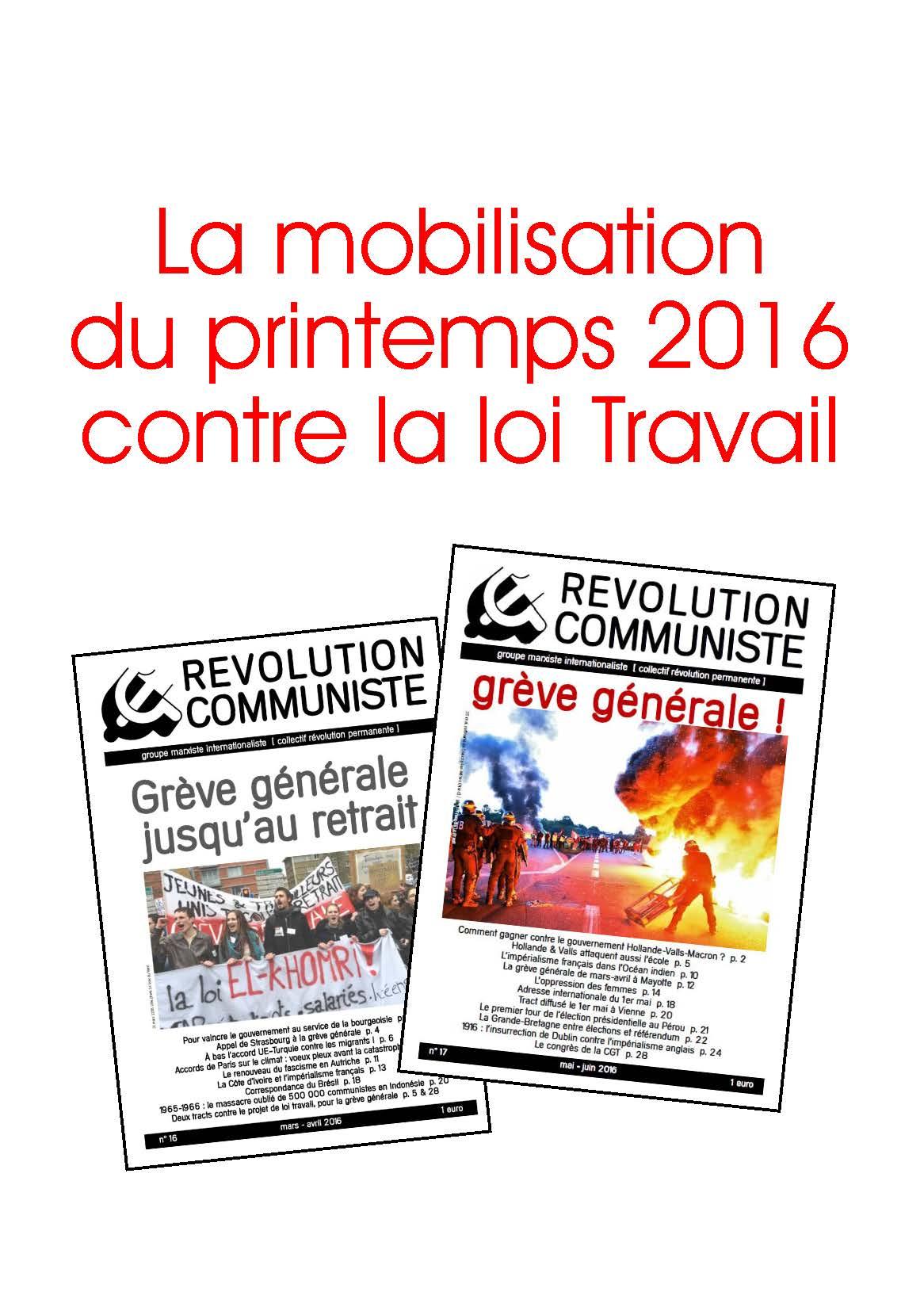 La mobilisation du printemps 2016 contre la loi Travail